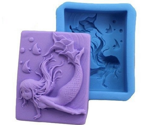 Mermaid Shape Silicone Soap Mold Fimo Clay Craft Art DIY Mould