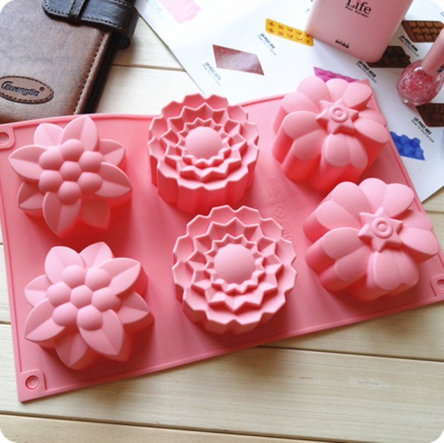 Allforhome™ 6 Cavities Big Flower Silicone Cake Baking Mold Cake