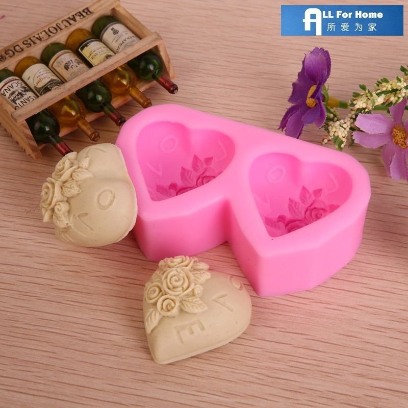 Valentine's Day Rose Heart Silicone Chocolate Candy Soap Mold - Click Image to Close